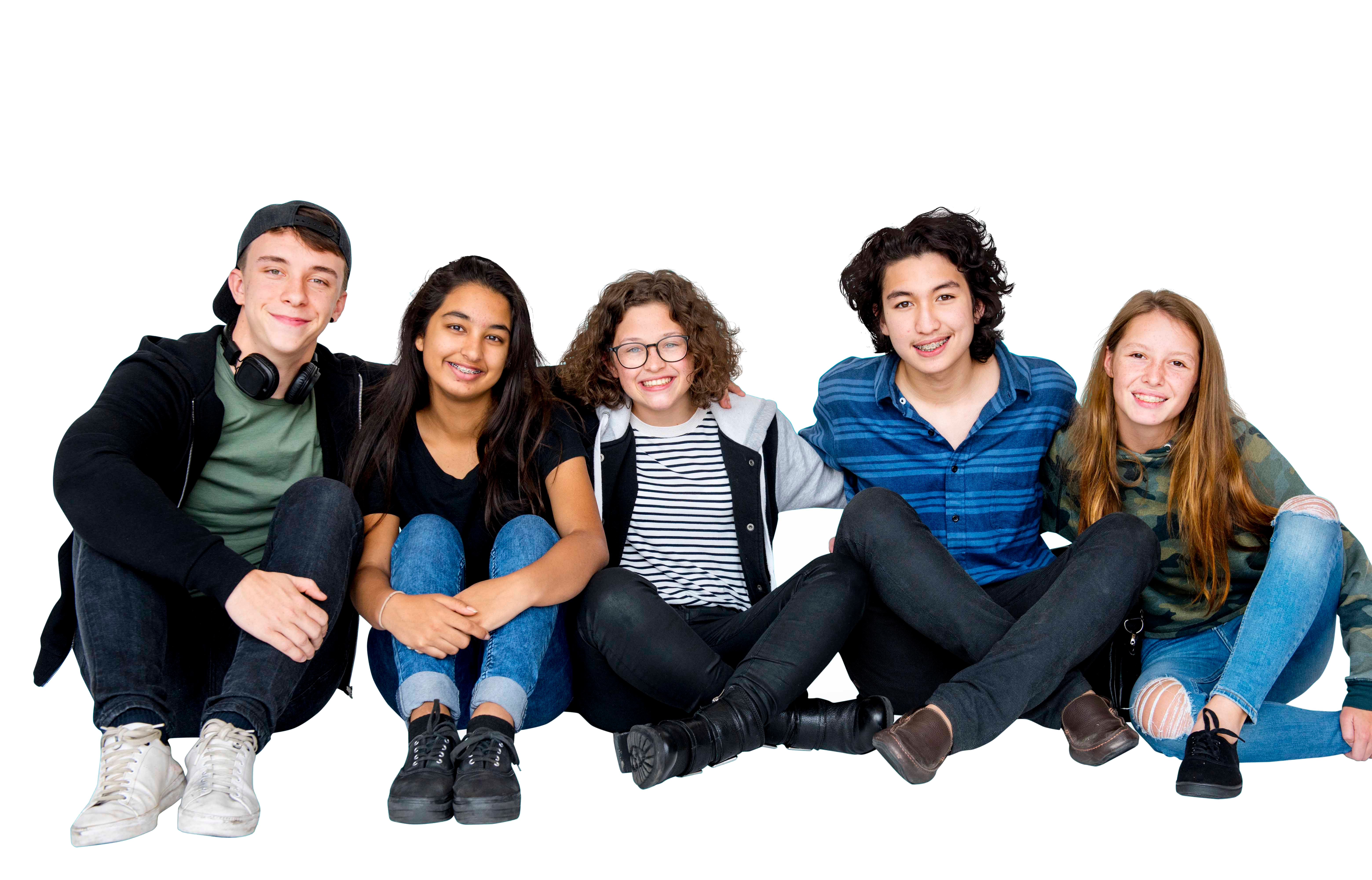 Group of teenager are sitting together